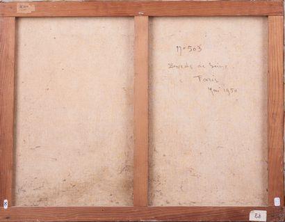 Jean DUGRENOT (1894 - 1969). Bords de Seine. Huile sur toile. Signée en bas à gauche...