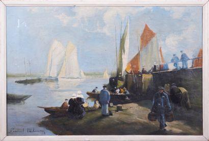 Paul LEBRUN (XXè). Bateaux à quai. Huile...