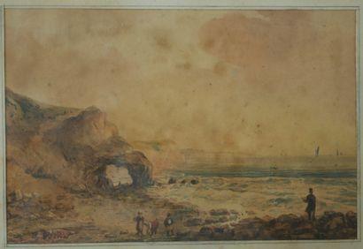 J. VERNET (XIXème siècle). Les ramasseurs de coquillages en Normandie. Aquarelle...