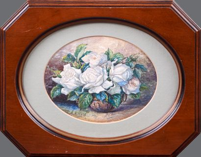 A. CHARIOT. Still life with white roses. Watercolour. Signed and dated 1922