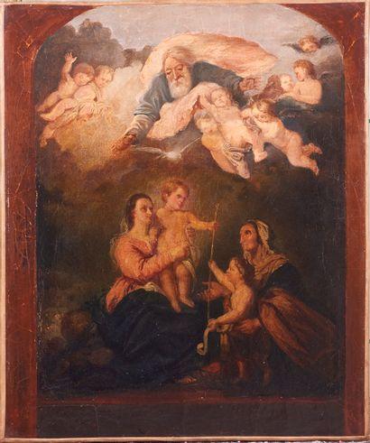 Ecole Espagnole XIXè siècle. La Sainte Famille d'après Esteban MURILLO. Huile sur...