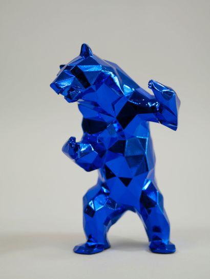 Richard ORLINSKI (1966). Ours bleu. Epreuve en résine bleu métalisée. Haut : 14...