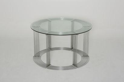 "Verner PANTON ( 1926-1998) for FRITZ HANSEN, 1971 - Table and six chairs ""Pantanova""..."