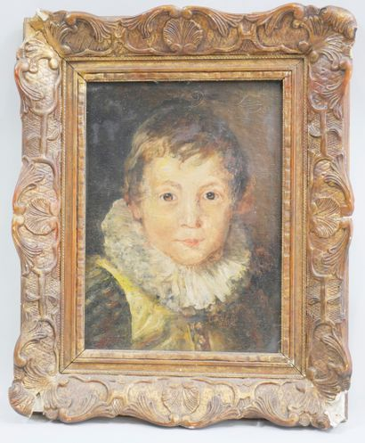 French school of the beginning of the 20th century. Boy with a strawberry. Oil on...