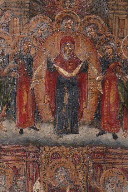 Icône : Le Pokrov (voile) ou Protection du voile de la Mère de Dieu. RUSSIE début...