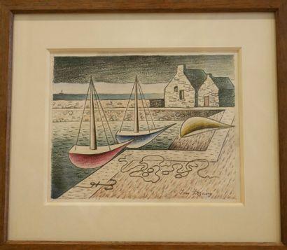 Jan ZRZAVY (1890-1977). Voiliers au port. Pastel sur papier. Signé en bas à droite....