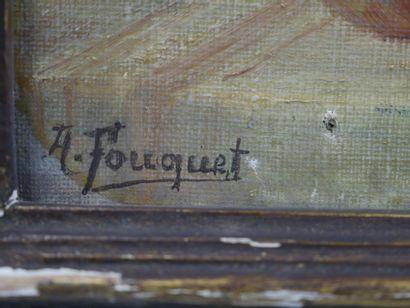 A. FOUQUET. Nature morte au pichet, pêches et raisins. Huile sur toile. Signée en...
