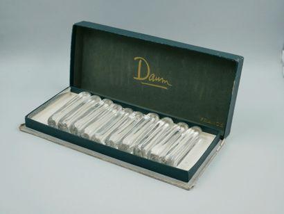 DAUM. Crystal set including a swan neck lamp base, signed, 23cm high. Ten crystal...