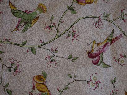 Paire de têtes de lit une personne en tissu à décor d'oiseaux exotiques branchés,...