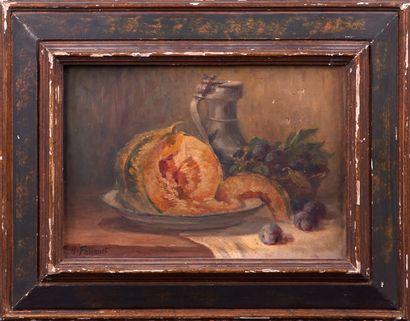 A. FOUQUET. Nature morte au pichet, melon et prunes. Huile sur toile. Signée en...