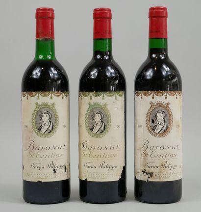 3 bouteilles Baronat, St Emilion, 1981 (Etiquettes...