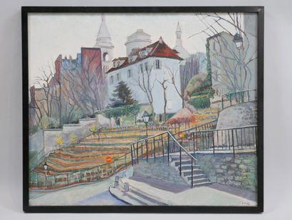 JP BORIAS. Montmartre seen from the vineyards. Oil on canvas. Signed lower right....