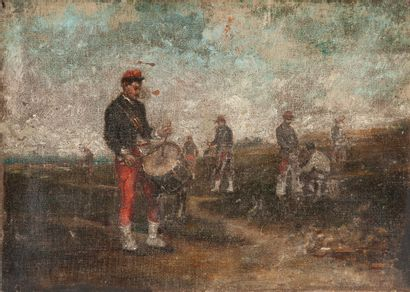 School of the 19th century. Infantrymen with a drum, circa 1870. Oil on canvas....