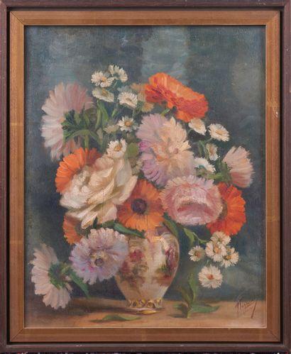 Ecole Française XXè siècle. Vase au bouquet...