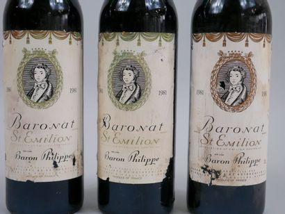 3 bouteilles Baronat, St Emilion, 1981 (Etiquettes abîmées)