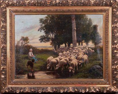 Ecole du XXè siècle. Jeune femme et son troupeau...