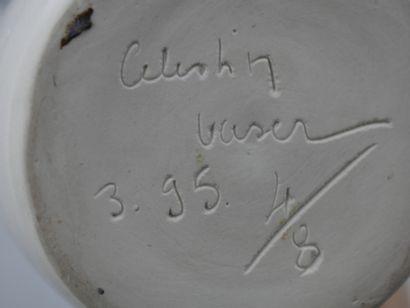 """VASER Célestin (XXè). Vase """"Apocalypse"""" en céramique à glaçure blanche, le col à..."""
