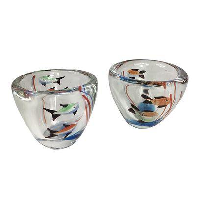 VENISE, MURANO, Huit gobelets en verre de MURANO (Haut 8,5cm). On y joint un plat...