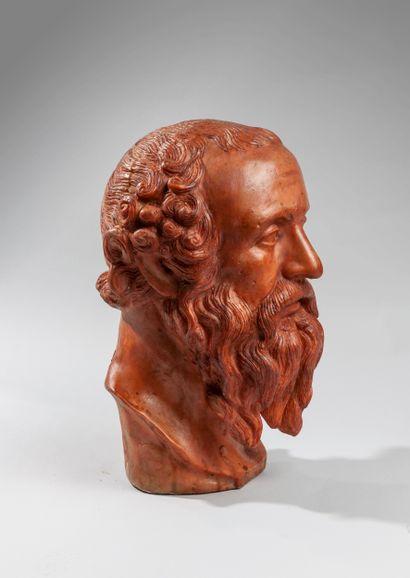 Gennaro CHIURAZZI (1842-1906). Buste de philosophe. Epreuve en cire. Porte le cachet...