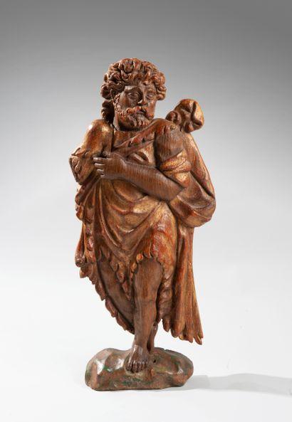 Sculpture « crêpe » en chêne polychrome avec traces de dorure représentant Saint...