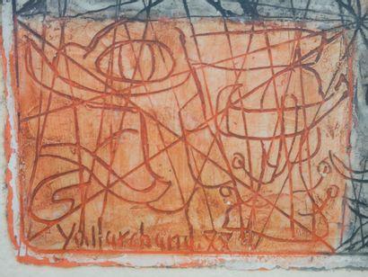 Yo MARCHAND. Composition abstraite. Technique mixte sur papier, signée, datée 88?...