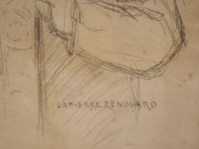 Paul Marie LAPIERRE-RENOUARD (1854-?). Portrait d'homme à l'Hôtel Drouot. Fusain...