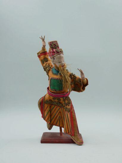 CHINE. Marionnettes en carton bouilli représentant des personnages d'opéra. Début...