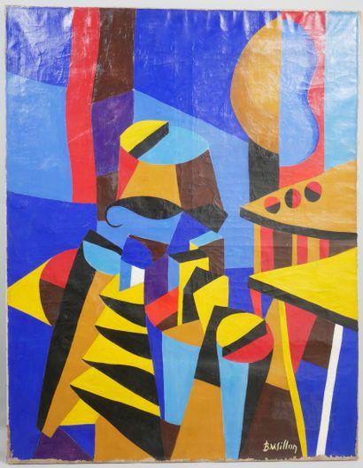 """Ecole Française XXe siècle, Composition abstraite, acrylique sur toile, signée """"Barsillon""""..."""