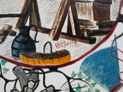 ACCOLAY - Suite de quatre coupes à anses en faïence à décor peint polychrome et...