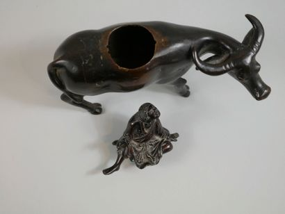 JAPAN. Middle of the XIXth century. Character on a buffalo. Bronze perfume burner...