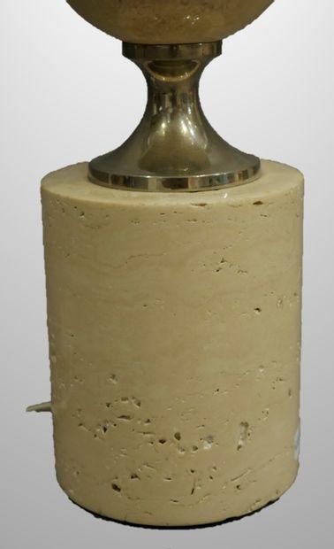 Philippe BARBIER (XXè). Lampe en acier et travertin. Haut 34cm