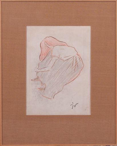 Jacques VILLON (1875-1963). Jeune fille rousse penchée. Pinceau, encre brune et...