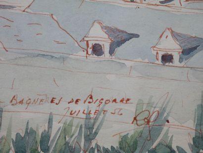 Ecole Française XXe siècle. Bagnères-de-Bigorre, 1956. Aquarelle et encre sur papier,...