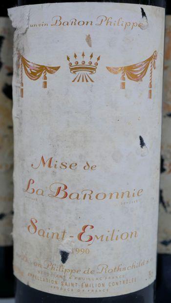 6 bouteilles Mise de la Baronnie, St Emilion, 1990 (Etiquettes très abîmées)