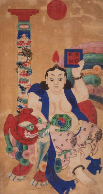 CHINE, XXè siècle. Peinture de divinité opulente...