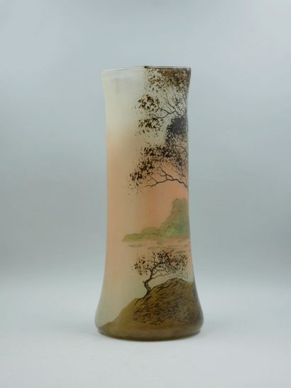 LEGRAS. Enamelled glass vase with lake and tree design. Height 48 cm