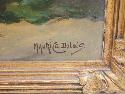 Maurice DUBOIS (1869-1944). Vase au bouquet de roses jaunes. Huile sur panneau....