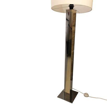 Pied de lampe à pans carrés en métal chromé...