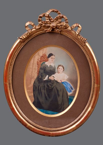 French school XIXth century. Woman and child. Watercolor. Gilded frame with a knot...