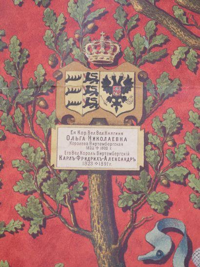 Arbre généalogique de la famille impériale de Nicolas Ier. 69x99cm. (Accidents)