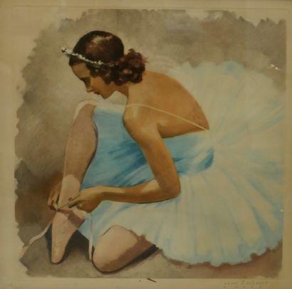 Jan Dominique Van CAULAERT (dates), Ballerine enfilant son chausson, Lithographie,...