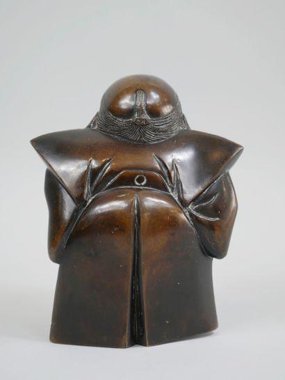Japon. Période MEIJI (1868-1912). Okimono en bronze à patine brune représentant...