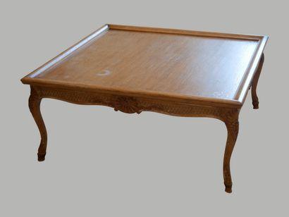 Large table basse carrée en bois naturel...