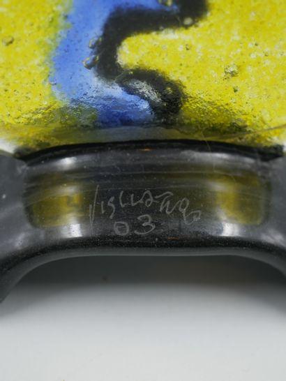 Silvio VIGLIATURO (1949). Testina di Stampa. Sculpture en verre soufflé représentant...