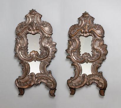 Paire de miroirs baroques dans un cadre en...