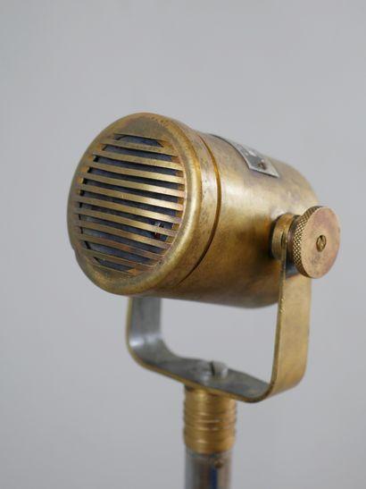 MELODYNAMIC / MELODIUM PARIS. Antique metal and cast iron microphone on tripod base,...
