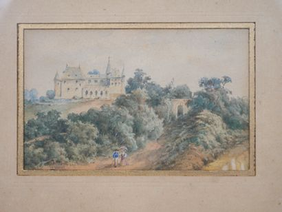 Ecole du XIXè siècle. Paysage au Château. Aquarelle sur papier, encadrée. 6,3 x...