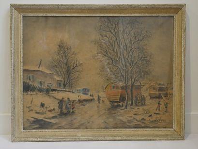 Edouard Febvre (1885-1967), Montmartre, le maquis sous la neige, aquarelle, fusain...