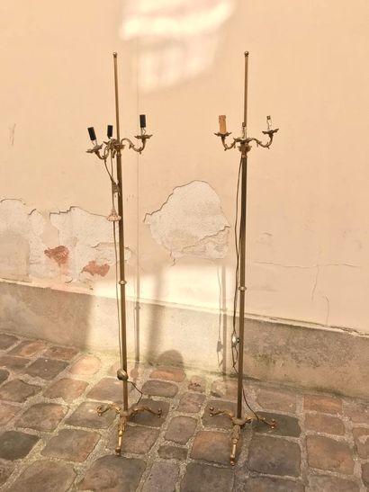 Paire de haut pieds de lampe en bronze doré à trois bras de lumière