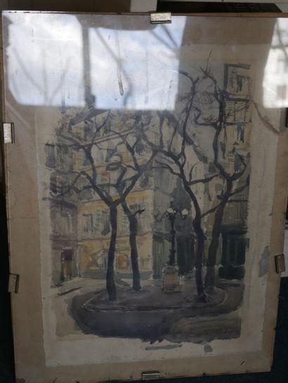 Aimé Daniel STEINLEN (1923-1996). Place Furstenberg à l'automne, 1923. Aquarelle...
